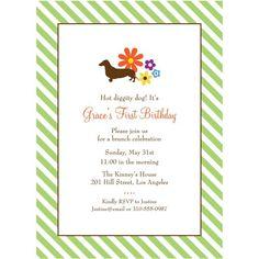 Hot diggity dog dachshund invitation - Bridal shower, baby shower, birthday party or birth announcement. $2.00, via Etsy.
