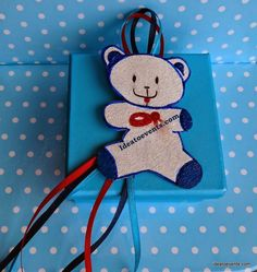 Teddy bear Christening favor box! Μπομπονιέρα βάπτισης κουτάκι με θέμα το αρκουδάκι.Ζωγραφική.  Ideatoevents.com