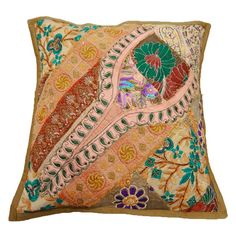 Free Shipping Cotton PatchWork Embroidered Pillow Cover Floral Green Indian Decorative Throw Cushion Cover 17x17 - PL5333
