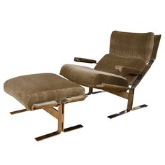 Midcentury Saporiti Chrome and Mohair Lounge Chair with Matching Ottoman | See more antique and modern Lounge Chairs at http://www.1stdibs.com/furniture/seating/lounge-chairs