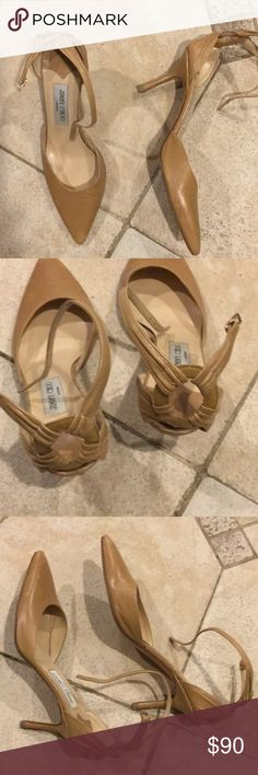 """AUTHENTIC JIMMY CHOO NUDE PUMPS AUTHENTIC JIMMY CHOO NUDE LEATHER PUMPS. GORGEOUS DESIGN ON THE BACK. BUCKLES AROUND ANKLE. NEEDS TO BE POLISHED UP. GORGEOUS AND NEUTRAL FOR ANY OCCASION. 3"""" HEEL Jimmy Choo Shoes Heels"""