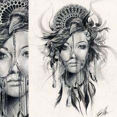 Projekt tatuażu z kobiecą twarzą, krukiem i wachlarzem