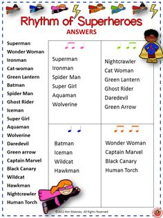 The rhythm of superheroes!!! 12 RHYTHM worksheets SET 4 Students are to match the name of the given words to the correct rhythm. Excellent for increasing vocabulary too! #musiceducation #musedchat