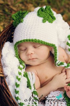 St. Patrick's Day Baby Hat- Crochet Shamrock Baby St. Patty's Day Hat- Ear Flaps- Boys- Girls- Photo Prop on Etsy, $24.50