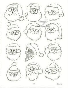 Santa Faces  *image only, ideas for Christmas ornaments*