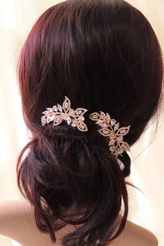 2x Rose Gold Hair Combs Wedding Hair Comb Vintage Style