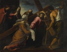 Jacopo Palma, called Palma Giovane VENICE 1544 - 1628 CHRIST ON THE ROAD TO CALVARY oil on canvas 76 by 59 1/2  in.; 193 by 151.1 cm. sotheby's