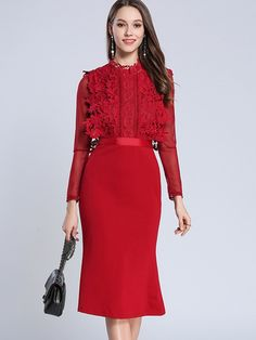 0999953211d4 Lace Hollow Out Solid Color Stand Collar Mermaid A-Line Dresses