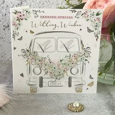 Sending Special Wedding Wishes - Camper Van, Handfinished Wedding Card with Crystals Wedding Wishes, Wedding Cards, Festival Themed Wedding, Office Branding, Card Companies, Vw Camper, Embellishments, Envelope, Pastel