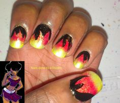 April 30 day nail art challenge day 29: inspired by a song. Song Burning up by Jonas Brothers