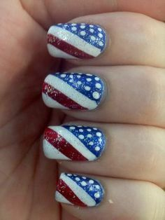 Unhas decoradas para a copa: Estados Unidos