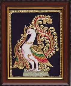 Tanjore Paintings is a classical south Indian art developed in the late century in Thanjavur also known as Tanjore In Tamilnadu south Indian state. Mysore Painting, Tanjore Painting, Mural Painting, Fabric Painting, Canvas Art Projects, Diy Projects, Peacock Wall Art, Ganesha Painting, Indian Folk Art