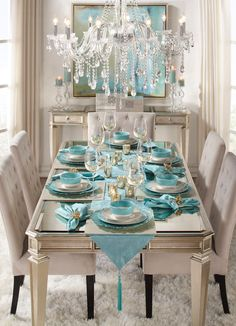 Empire Dining Table from Z Gallerie Aqua Dining Rooms, Turquoise Dining Room, Elegant Dining Room, Dining Room Chairs, Dining Room Table Centerpieces, Glass Dining Table, Table Decorations, Tables, Christmas Decorations