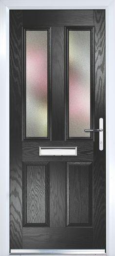 Composite Black PVCu U0026 GRP Glazed External Front Door U0026 Frame Lh, (H)2055mm  (W)920mm