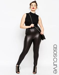ASOS CURVE Leather Look Leggings With Elasticated Waistband