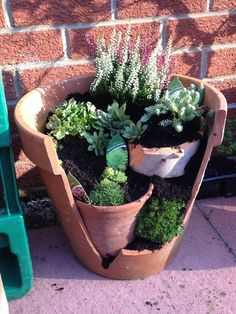 These 39 Broken Pots Mini Garden Ideas Will Blow Your Visitors Away. #35 Is A Great Idea For This Halloween.
