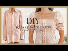 DIY Puff sleeve dress - Refashion Men's Shirt into puff sleeve dress - How to make Square neck dress sewing baby sewing clothes sewing for beginners sewing gifts sewing projects Fashion Sewing, Diy Fashion, Punk Fashion, Dress Fashion, Diy Kleidung Upcycling, Diy Puffs, Shirt Makeover, Dress Makeover, Clothing Hacks
