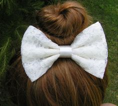 Lace Hair Bow/Ivory Hair Bows for Teens women by ClipaBowBoutique