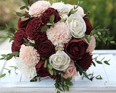 fall bridal bouquets This listing features a bouquet featuring sola flowers in burgundy/maroon and blush pink and ivory. It is accented with s Prom Bouquet, Blush Bouquet, Wedding Bouquets, Pink Flower Bouquet, Ranunculus Bouquet, Bridal Bouquet Pink, Floral Wedding Cakes, Boquet, Sola Flowers