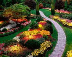 gartengestaltung kleine gärten, raigras und vielen bunten blumen, Garten ideen
