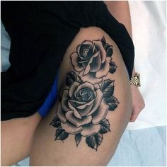 Rose tattoos are intended for both women and men. It can be done with watercolor tattoos. Many times, a tattoo with a rose is known as a sign of unattainable beauty. A rose tattoo is among the most prevalent patterns… Continue Reading → Side Thigh Tattoos, Rose Tattoo Thigh, Flower Thigh Tattoos, Tattoo Roses, Tattoo Flowers, Tattoo Girls, Girl Tattoos, Cute Tattoos For Women, Trendy Tattoos