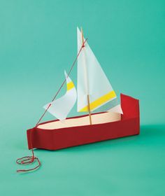 Milk-Carton Sailboat  Most crafts couldn't survive the bathtub, but this schooner can tolerate sizable splashes, thanks to waterproof gaffer's tape and vellum. The body is made from an empty milk carton—even more incentive for your child to drink up.