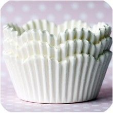 Standard size white scalloped baking cups. $3.25 for 98.