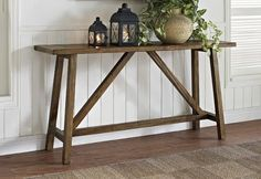 Get inspired by Rustic Living Room Design photo by Wayfair. Wayfair lets you find the designer products in the photo and get ideas from thousands of other Rustic Living Room Design photos. Rustic Console Tables, Sofa End Tables, Entryway Tables, Wooden Console, Narrow Entry Table, Foyer, Rustic Entryway, Entryway Console, Rustic Entry Table