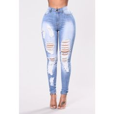 Pull Up On You Jeans Light Blue ($10) ❤ liked on Polyvore featuring jeans, ripped jeans, high waisted distressed jeans, high-waisted jeans, light blue ripped jeans and high-waisted skinny jeans