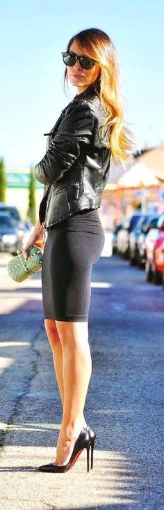 Black Pencil skirt   Leather Jacket.