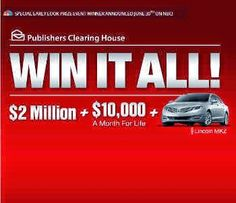 PCH Win It All with Publishers Clearing House Dream Life Prize Sweepstakes 2015. $2 Million dollar Lump Sum Payout plus $10,000 a Month for Life plus a New Car consisting of a brand new Lincoln MKZ 2015