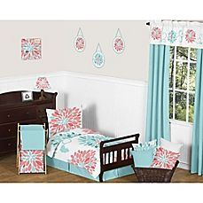 image of Sweet Jojo Designs Emma Toddler Bedding Collection in White/Turquoise