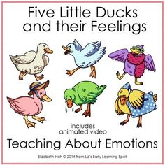 Get kids talking about their feelings by singing along with Five Little Ducks and their Feelings. They'll stomp, cry, run, dance and drag their feet as they go.