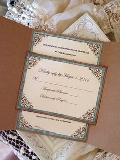 Shabby Chic Peacock Wedding Invitation by JennyPie5 on Etsy