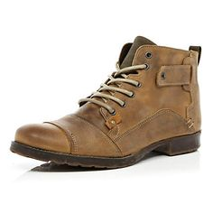 light brown stitch boots - boots - shoes / boots - men - River Island
