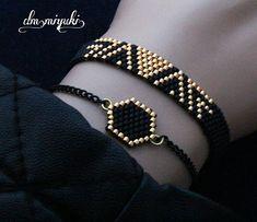 En güzel uyumlardan gold ve siyah✨ Bilgi için dm ▶ ___________ Gold and black of the best harmony✨ For information dm ▶ ___________ that Umeda Loom Bracelet Patterns, Bead Loom Bracelets, Beaded Jewelry Patterns, Embroidery Jewelry, Friendship Bracelet Patterns, Bracelet Crafts, Jewelry Crafts, Handmade Jewelry, Trendy Fashion Jewelry