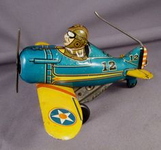 Vintage MARX TIN LITHO WIND UP ROLL-OVER AIRPLANE TOY - Working condition #Marx