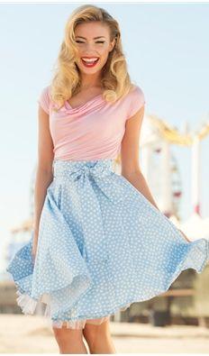 Cute Blue Dots Circle Skirt- Dipper Skirt #1950s #1950sfashion