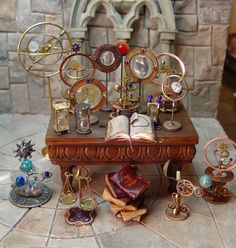 haunted dollhouse EV Miniatures - Orrery, hourglasses and Fairy Furniture, Miniature Furniture, Dollhouse Furniture, Haunted Dollhouse, Diy Dollhouse, Dollhouse Miniatures, Miniature Houses, Miniature Dolls, Magie Harry Potter