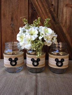 Disney Wedding Centerpiece Mickey Mouse Mason Jars - Set of 3 by aTOUCHofDISNEY on Etsy https://www.etsy.com/listing/248118931/disney-wedding-centerpiece-mickey-mouse
