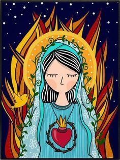NOSSA SENHORA Catholic Art, Catholic Saints, Religious Art, Madonna, Mary And Jesus, God Jesus, Mama Mary, Holy Mary, Hippie Art