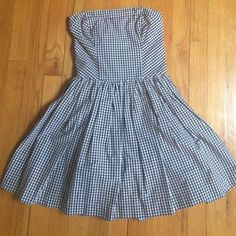 64baf0a6005a9 Abercrombie & Fitch Plaid Strapless Dress. Size S so would a - Depop £10