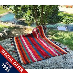 5' X 8' Bohemian Kilim Rug Made of Pure Lamb Wool  by HeSamCrafts