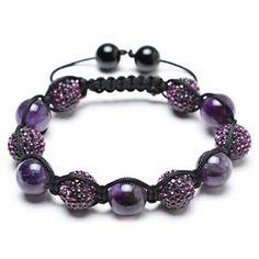 Bracelet Shamballa Inspired Purple Crystal Bead Amethyst Stones ($30) ❤ liked on Polyvore featuring jewelry, bracelets, purple, sparkling jewellery, crochet jewelry, drusy jewelry, beading jewelry and purple bangles