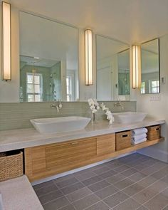 Furniture , Bamboo Bathroom Cabinets : Wall Mounted Bamboo Bathroom Cabinets  With Bins And Vessel Sinks