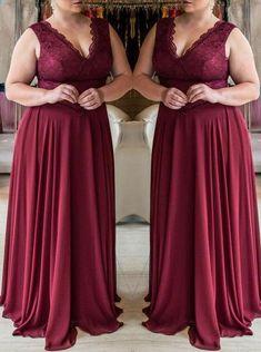 0f015188b45 Mother of the bride A-Line Princess V-neck Sleeveless Lace Sweep Brush Train  Chiffon Plus Size Dresses. Wishingdressofficial · Plus Size Prom Dresses