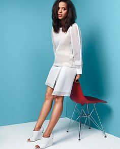 | INSTYLE | Gugu Mbatha-Raw Goes Modern in Monochrome -- Reed Krakoff Sweatshirt and Skirt #Bellemovie