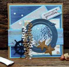 Masculine Birthday Cards, Handmade Birthday Cards, Masculine Cards, Nautical Cards, Nautical Theme, Fun Crafts, Paper Crafts, Crafters Companion Cards, Beach Cards