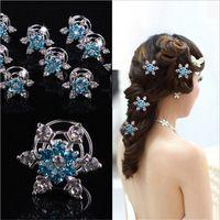 12Pcs Crystal Snowflake Wedding Bridal Hair Pins Twists Coils Flower Swirl  Spiral Hairpins Fashion Jewelry Accessories e90b51f5c9f4