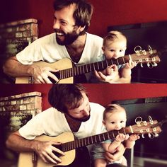 My brother in law and my nephew playing my brothers GUITAR. love. in a nutshell.  taken by me at my brothers house in Leavenworth, WA.